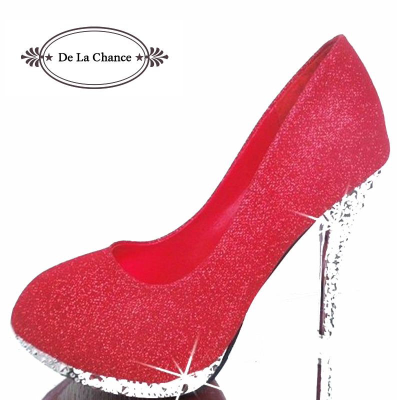 2016 Glitter Wedding Shoes Bridal Evening Party Crystal Red Bottom High Heels Women Shoes Sexy Women