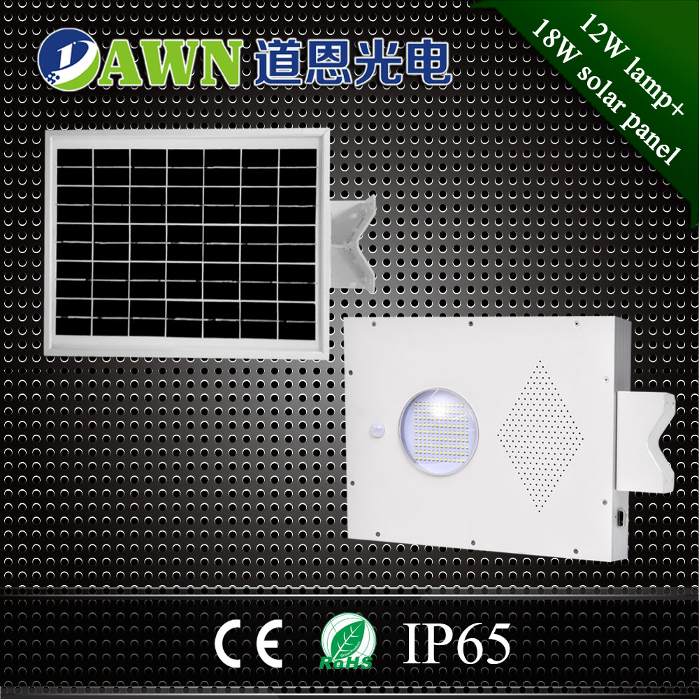 12W high efficiency 2016 new integrated all in one solar led street light lamps garden stainless steel balls
