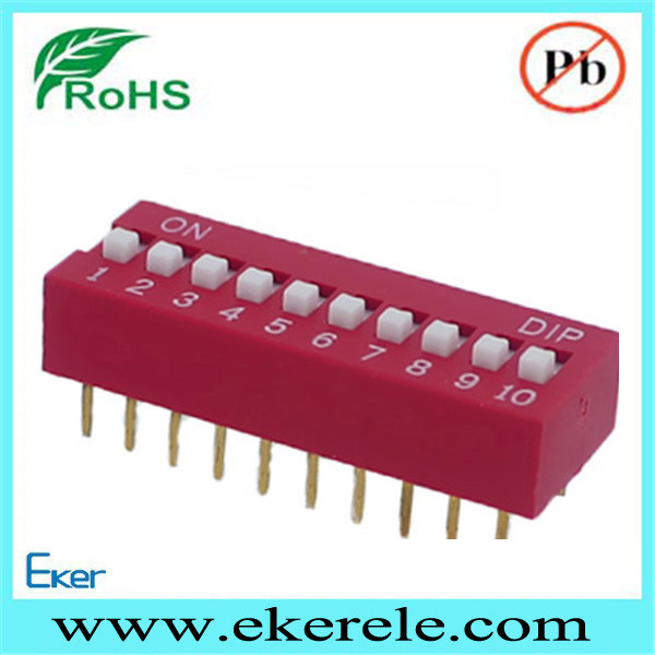 10 Position Slide Switch, Low Profile Dip Switch