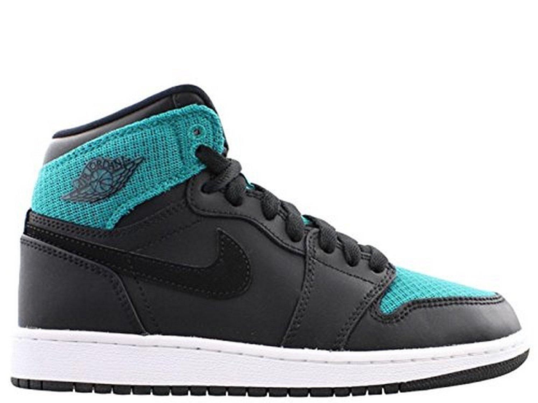 the latest 0270f 0c52e Get Quotations · Nike Girls AIR JORDAN 1 RETRO HIGH GG, BLACK METALLIC GOLD-RIO  TEAL