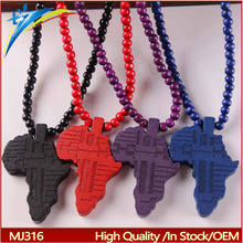 New Arrival Africa Map Pendant Good Wood Hip-Hop Wooden Necklace Wholesale