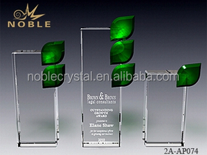 New Design Blank Custom Engraved Rectangle Crystal Plaque Trophy Award With Colored Leaf Shaped Crystal