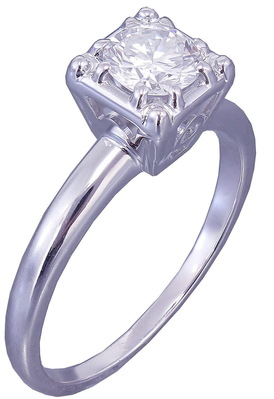 14k White Gold Round Cut Diamond Engagement Ring Art Deco Antique Styke Prong 0.60ct
