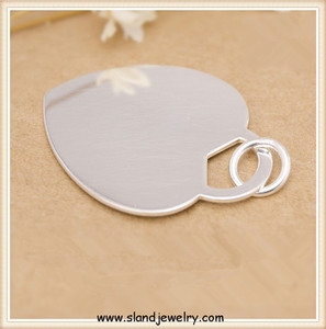 wholesale alibaba shiny polished 925 sterling silver heart tag pendants - Engravable plain peach plate pendant engravable