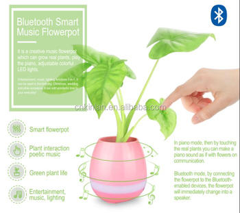 KINLAN Stereo sound loudspeaker Music flowerpot with colorful light