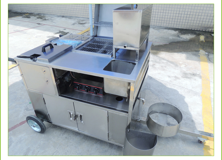Mobile Fryer Food Cart Potato Chips And Chicken Fryer