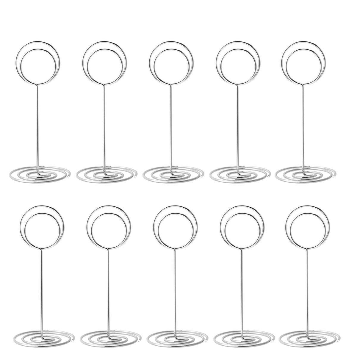Aieve Table Card Holders,12 Pack Place Card Holders Table Number Holder Stand Clip Wire Photo Holders for Weddings Restaurant Tables Picture Card Memo Menu Holder,Silver