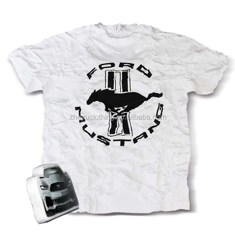 Promotional compressed t-shirt 100% cotton white car shaped tee shirt with print