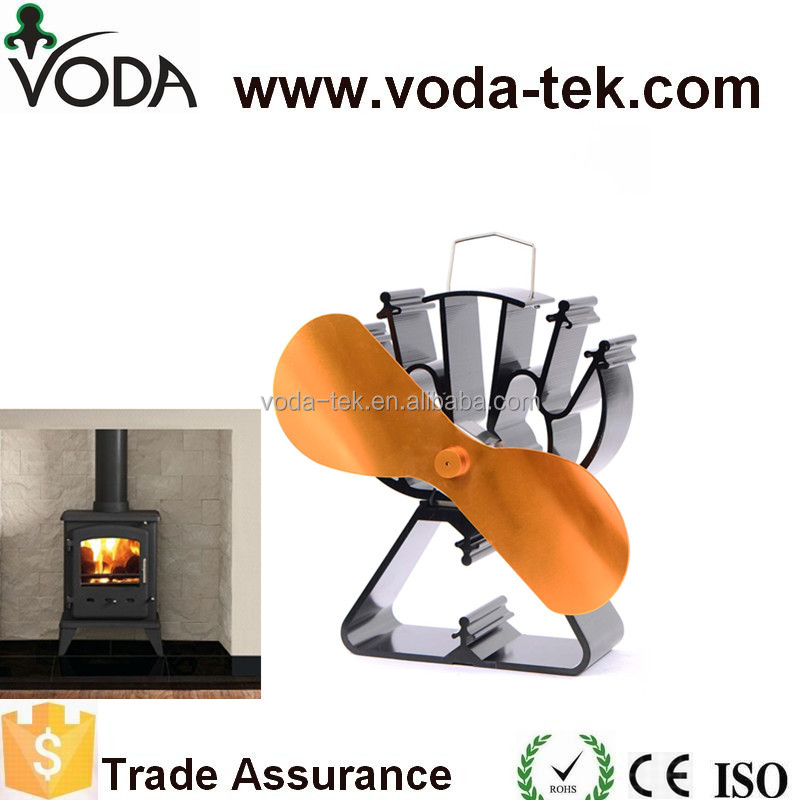 2 blade eco wood burning fireplace fan for gas /wood stove fan