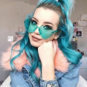 K75801 Women Cute Sexy Heart Shape Eyewear One Piece Lens Rimless Sunglasses 2020