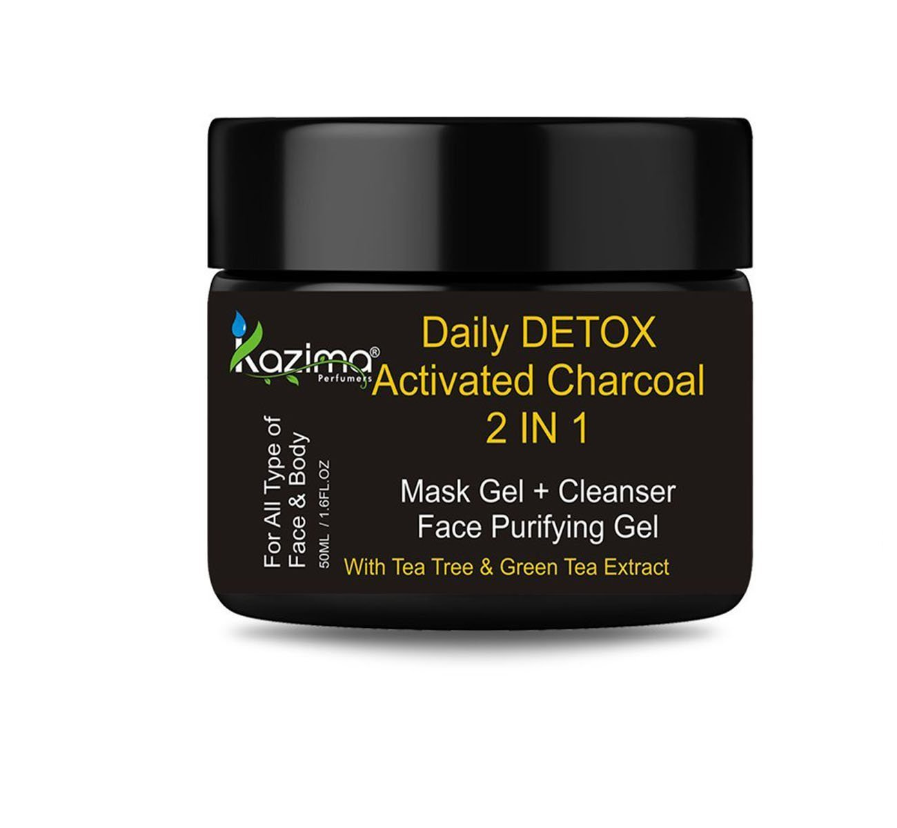 KAZIMA Daily DETOX Activated Charcoal 2 IN 1 Mask Gel + Cleanser Face Purifying Gel - Nourishment & Skin Refresh & Soft With Tea Tree & Green Tea Extract (50ML)