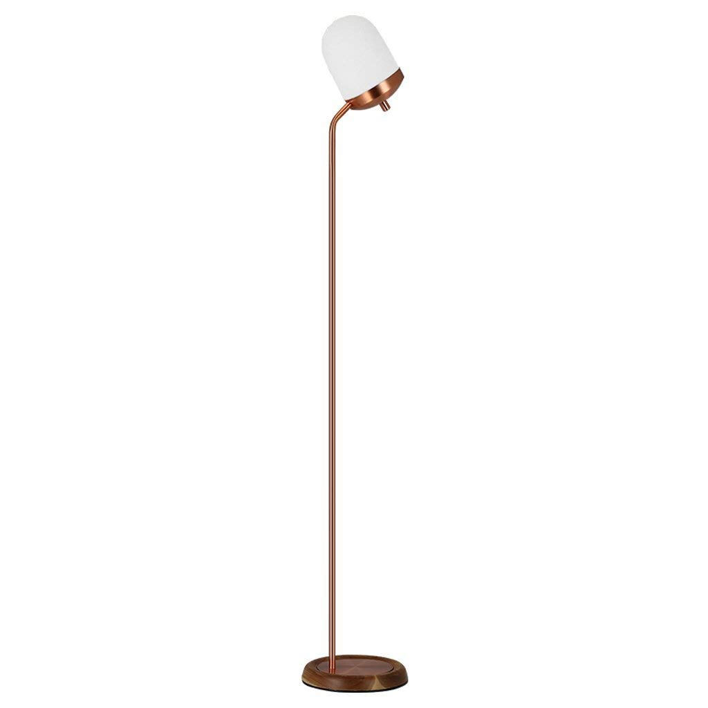 "Single Stem Metal Floor Lamp Uplight, Glass Lampshade, Wooden Base, Height 61.07"", E27, Nordic Modern Style Living Room Bedroom Bedside Study Creative Vertical LED Floor Lamp, Rose Gold"