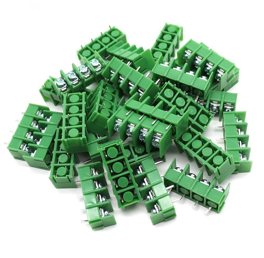 Yootop 30 Pcs 4 Pins 7.62mm/0.3'' Pitch PCB Mount Screw Terminal Block AC 300V 20A,Green