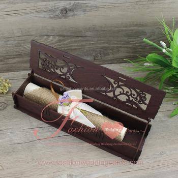 Diy Vintage Rustic Burlap Scroll Wedding Invitations In Wood Box ...