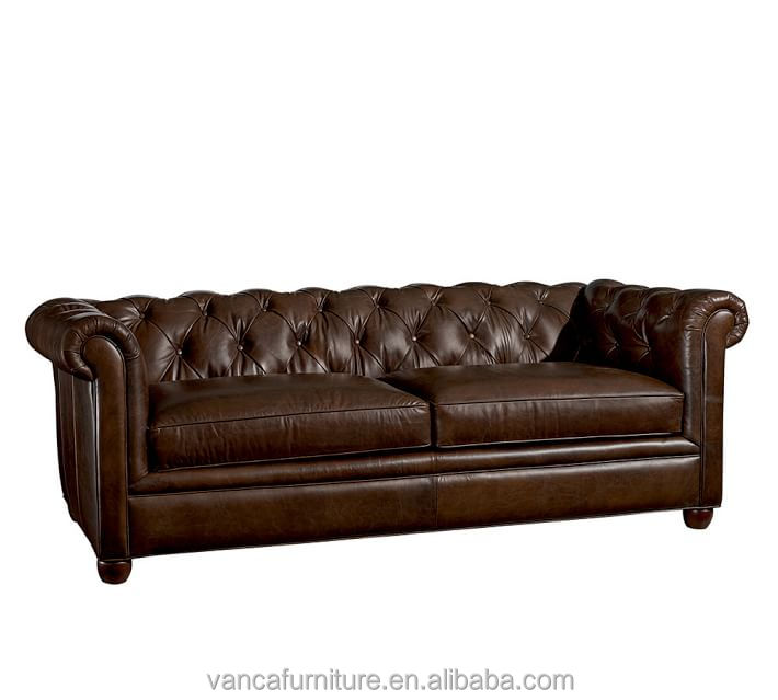 Antique living room furniture italy Chesterfield brown leather sofa