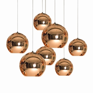 Interior Designer Nordic Style Hanging Lights Copper Shade Modern Glass Pendant Lamp