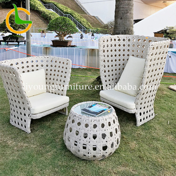 LIGO European style leisure ways garden line aluminum high back rope outdoor white garden sofa