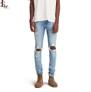Fashion Men Straight Slim Pants Denim Jean Pants Ripped Skinny Trousers Full Length Hole Light Blue Mid Waist Jeans