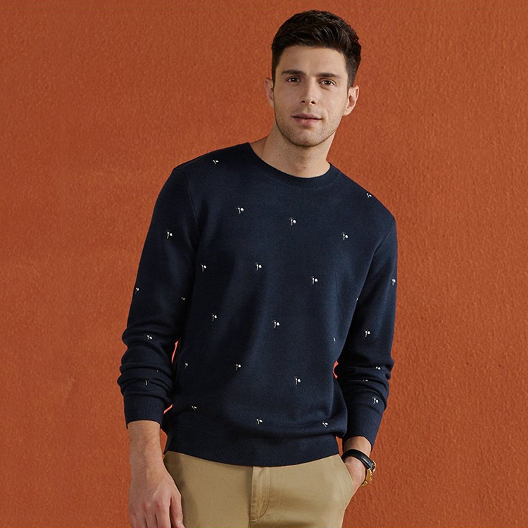 Free Sample Spot Winter Custom Knit Pullover Cotton Sweater Men