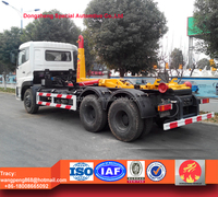 Dongfeng Tianlong 18cbm hook lift refuse collection vehicle, roll-off dustbin lorry for sale