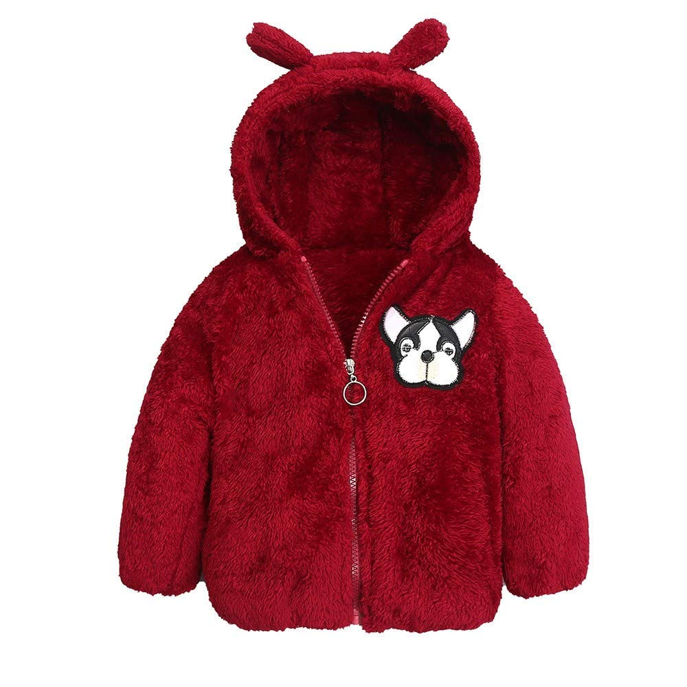 Sameno Toddler Baby Girl Boy Cartoon Dog Warm Velvet Solid Hooded Jacket Coat Winter Tops Clothes