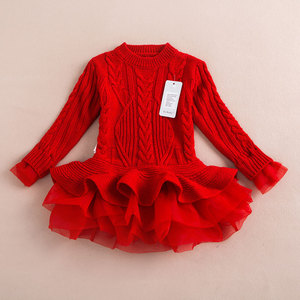 Wholesale Autumn & Winter Clothing 3-8 Years Children Girl Sweater Dresses High Quality Organza Kids Tutu Knit Dresses