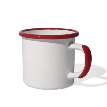 350ml wholesale customized color rim and handle enamel camping mug for sublimation