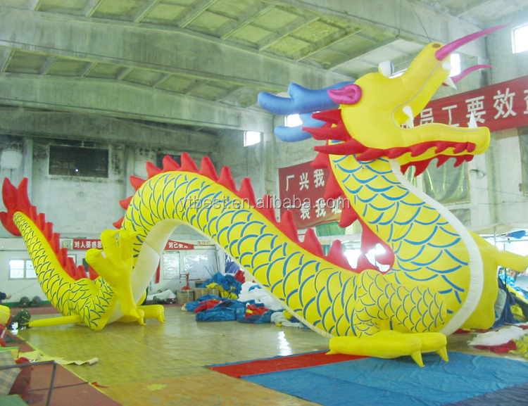 Outdoor attraction hotselling inflatable yellow dragon