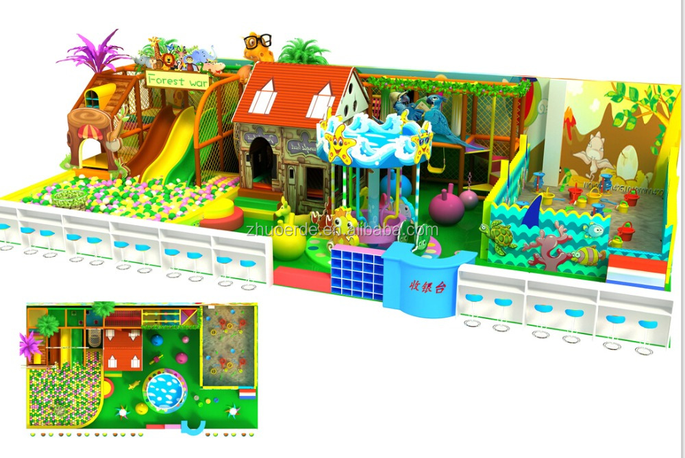 children fun sand play + slide amudement park kids indoor playground equipment for shopping mall