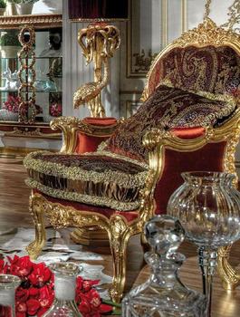 Luxury Royal Wooden Hand Carving Living Room Red Fabric