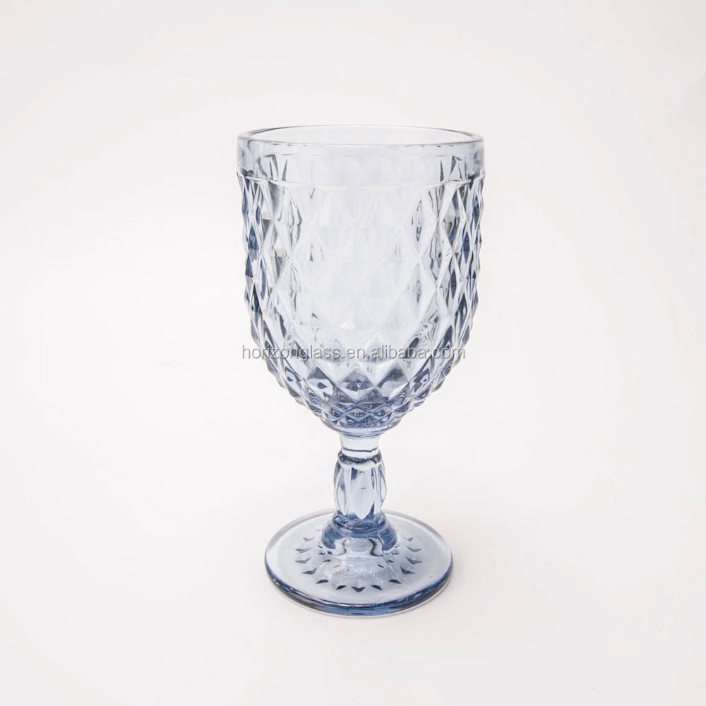 Spot supply unique grey blue wine glass for rental diamond cut grey blue goblet