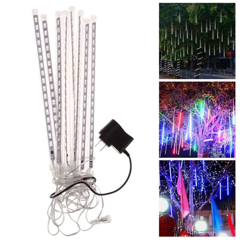 2017 hot sale Wholesale 8pcs Waterproof Meteor Shower LED Light Christmas Light Holiday New Year Decoration US Plug Multicolor