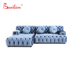 Upholstered vintage Italy classical tufted button fabric chesterfield sofa with chaise