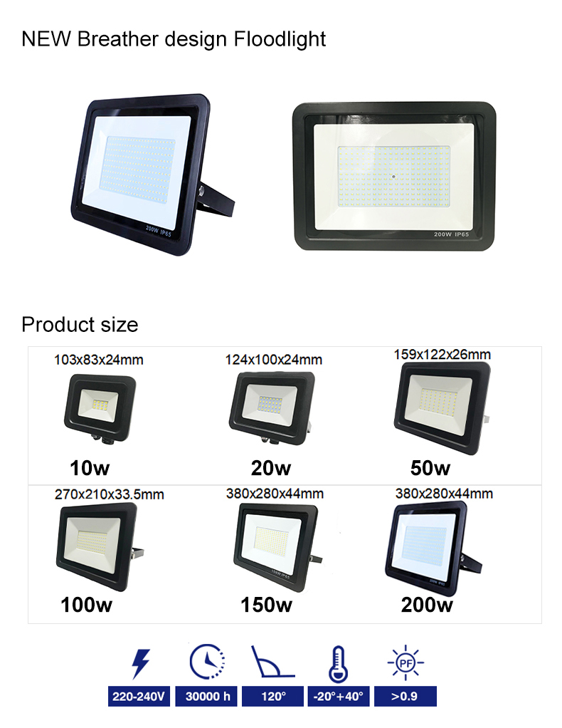 Ningbo EPES New Design  Breather Valve IP67 Smd 10w 20w 50w 100w 150w 200w Outdoor Waterproof Led Flood Light