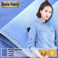 w7522 wholesale light blue 5oz t shirt cotton denim jeans fabric