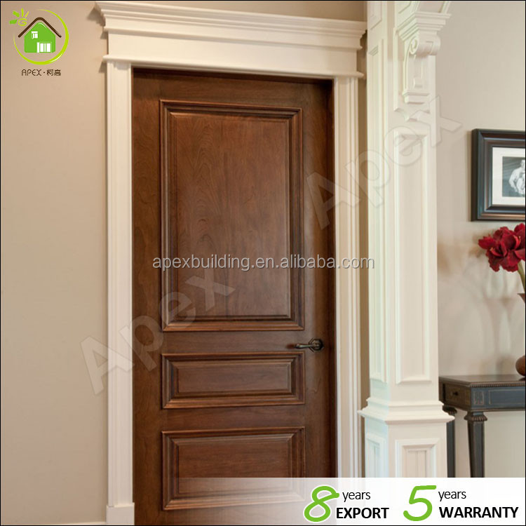 Simplicity solid wood walnut color entry door & room door & hotel internal door set