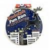 Gun plating cut out marathon running sports custom finisher medals with ribbon