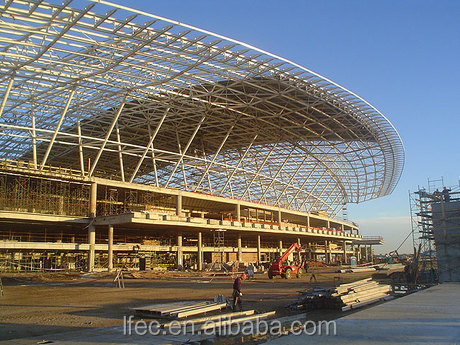 Welded steel ball space frame for airport terminal