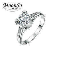 2016 High quality 1 carat CZ diamond cubic zirconia 925 sterling silver engagement wedding ring for women KR1936S