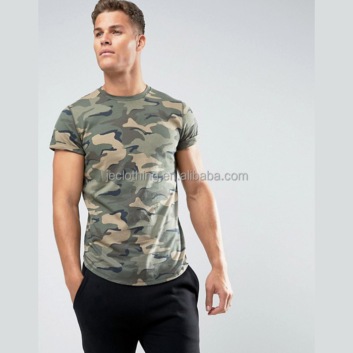 Army Uniform Military Woodland Camo Scallop Hem Crew Neck Mens T shirt