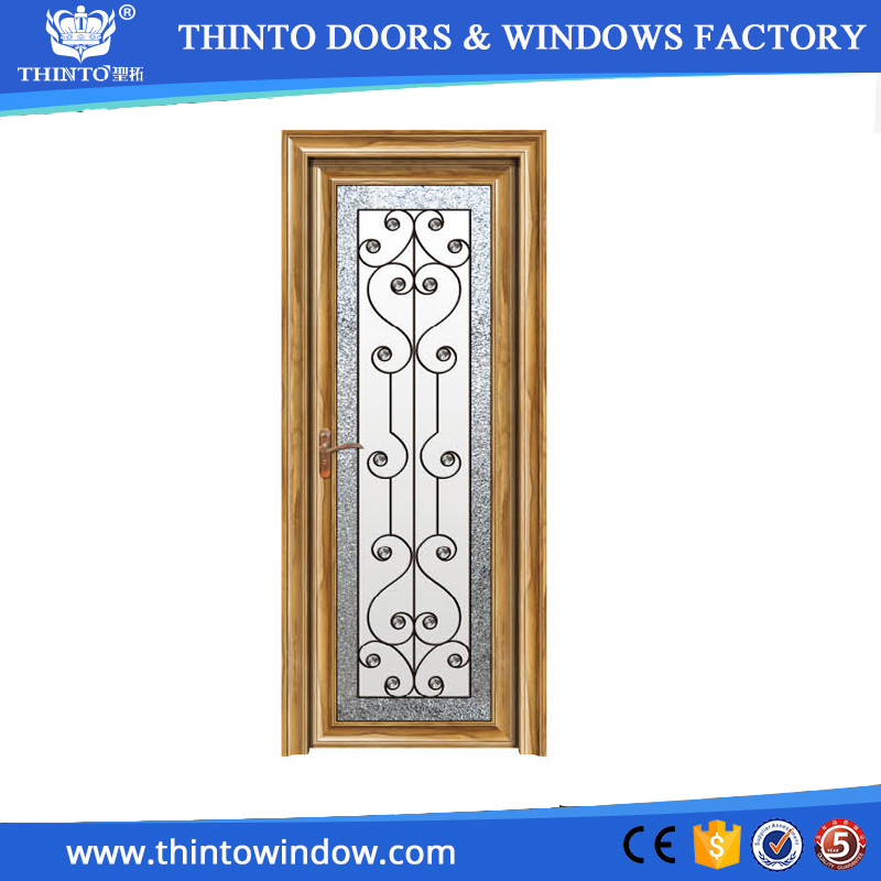 1.4-2.0mm thick aluminum frame frosted glass decorative bathroom doors