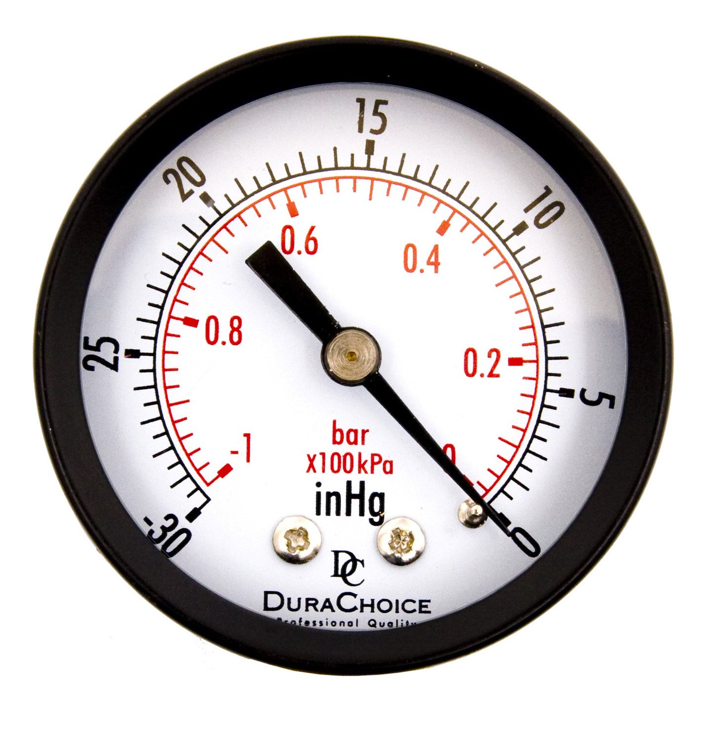 "DuraChoice 2"" Dial Utility Vacuum Pressure Gauge for Air Compressor Water Oil Gas, 1/4"" NPT Center Back Mount, Black Steel Case, -30HG/0PSI"
