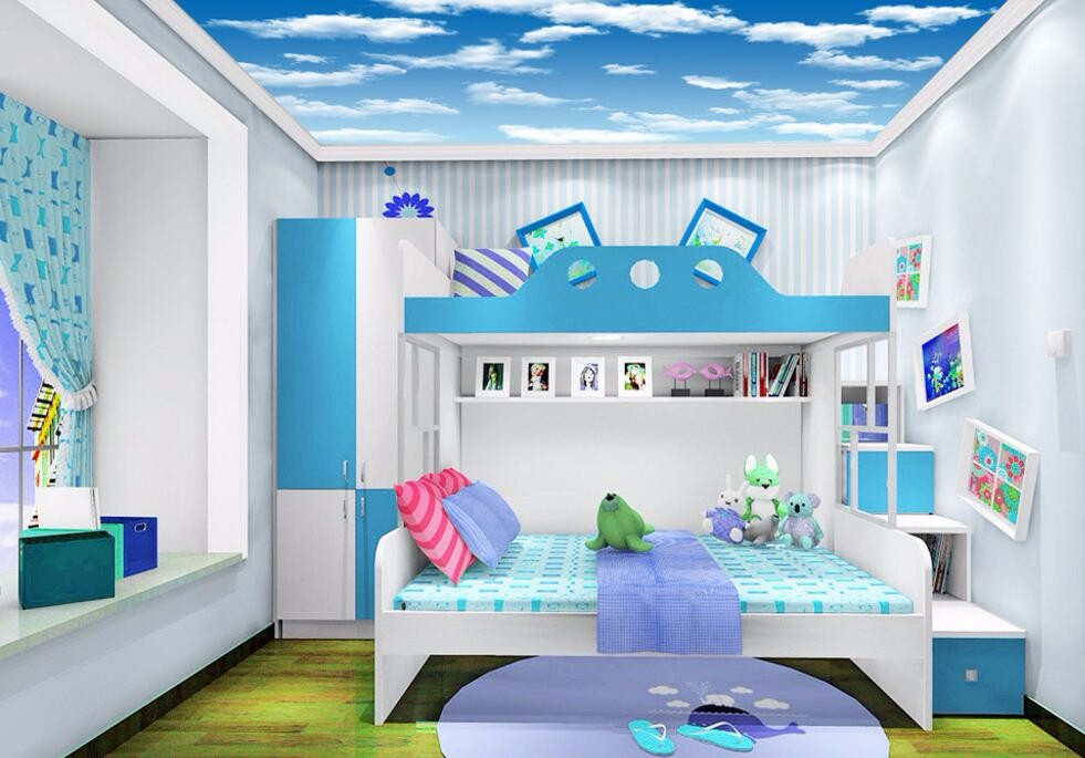 Soft and quiet feeling lounge gallery kid room 3d ceiling for Ceiling mural in a smoker s lounge