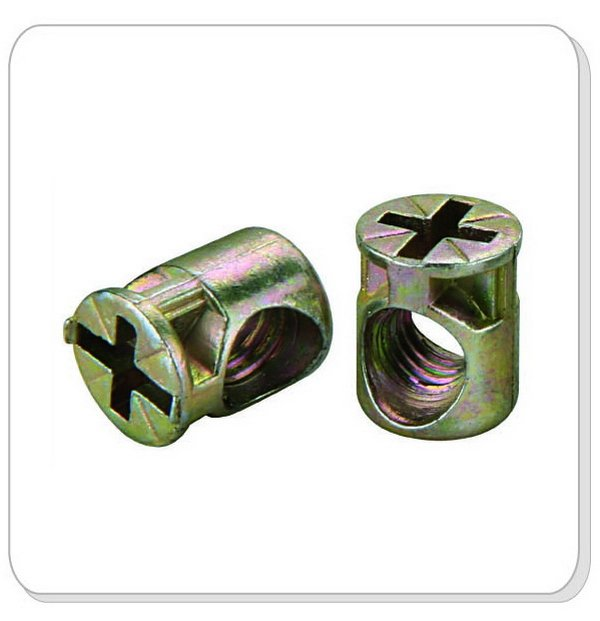 China manufactured high quality cross type steel barrel nut for cabinet