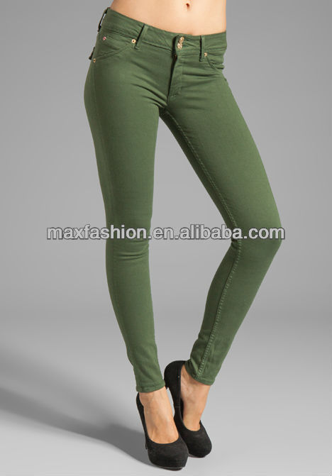 New Design Lady's Army Green Jeans