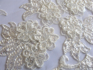 2015 Hot sale Bridal Decorative Fancy design corded embroidery trimming lace with full machine sequins for veils and bridal