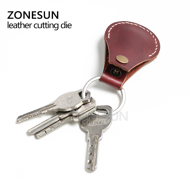 ZONESUN Customized leather cutting die shape key ring fob holder punch PVC/EVA sheet cutter mold DIY leather laser knife die