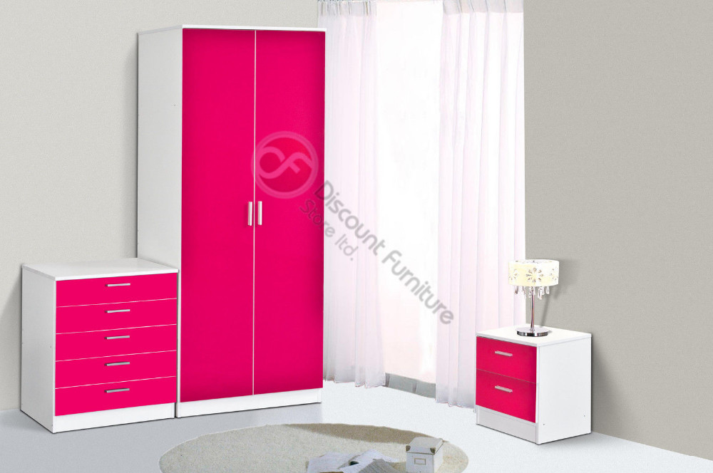 3 Piece Khabat Gloss Bedroom Sets - Pink Gloss / Matt White - Buy Gloss  Bedroom Set Product on Alibaba.com