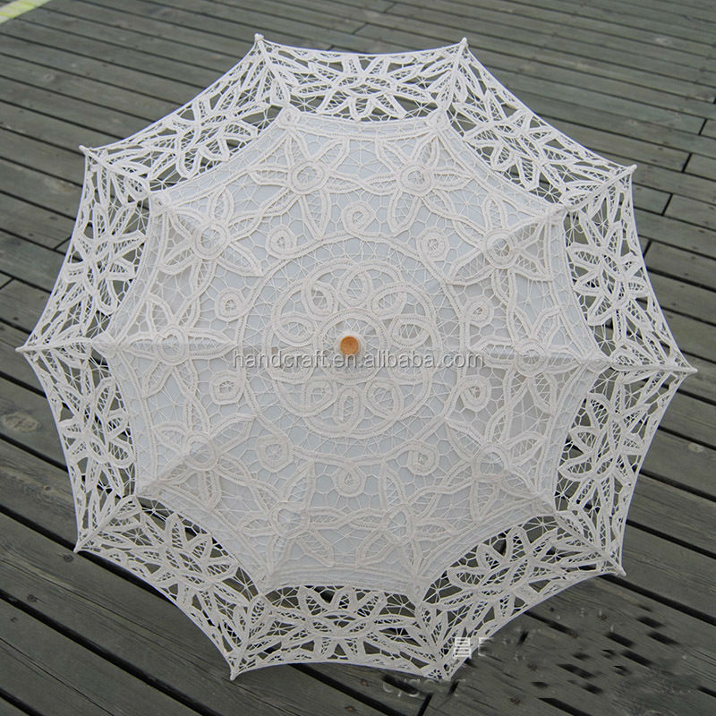 White Embroidered Battenburg Lace Parasol and Fan Sun Umbrella Set Bride Adult size Vintage