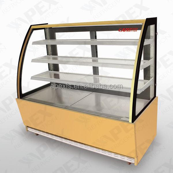 Stainless steel bakery glass showcases for bread display